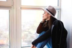 Beautiful boho woman in wool hat Royalty Free Stock Photo