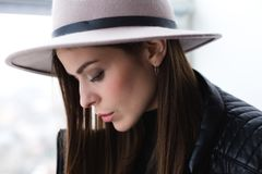 Beautiful boho woman in wool hat Stock Photo