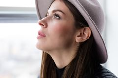 Beautiful boho woman in wool hat Royalty Free Stock Images