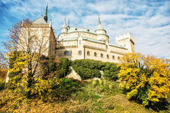 Beautiful Bojnice castle in Slovak republic, seasonal scene Stock Photos