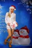 Beautiful Bond With Christmas Gift. Royalty Free Stock Image