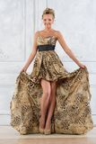 Beautiful bonde woman in leopard patterned  long dress. Royalty Free Stock Photo