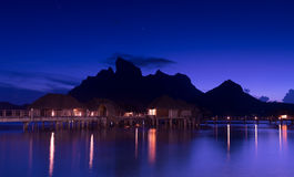 Beautiful Bora Bora and starry sky at night Royalty Free Stock Images