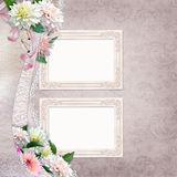 Beautiful border of flowers, lace and frames on vintage background Royalty Free Stock Photo