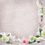 Beautiful border with flowers, lace on vintage background vector illustration