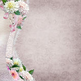 Beautiful border with flowers and lace on a vintage background Stock Image