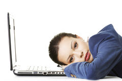 Beautiful bored and tired businesswoman Royalty Free Stock Photography