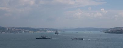 Beautiful Bosphorus Bridge and Strait with Ships, as seen from the European Side of Istanbul, in Turkey Stock Photo