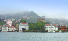 Beautiful Bosphorus shore in fog Stock Image