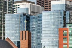 Beautiful Boston skyline with glas front buildings on sunny day in Massachusetts USA. Beautiful Boston skyline with glas front buildings on a sunny day in stock images