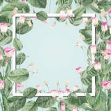 Beautiful botanical frame with pink flowers and leaves at pastel blue background. Creative layout with copy space for design royalty free illustration