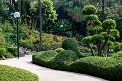 Green garden. Beautiful botanical garden in the center of city Stock Photo