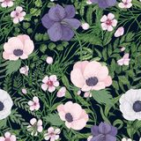 Beautiful botanical pattern with wild blooming flowers and flowering herbs on black background. Natural backdrop with. Meadow wildflowers. Gorgeous floral Royalty Free Stock Photo