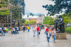 Beautiful Botero Plaza in Medellin city, Colombia Stock Images