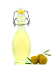 Beautiful bottle of olive oil and olives isolated on a white. Background Stock Photo