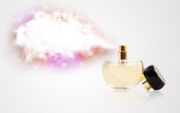 Beautiful bottle spraying colorful cloud Royalty Free Stock Photo
