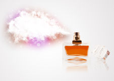 Beautiful bottle spraying colorful cloud Royalty Free Stock Photos