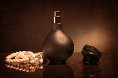 Beautiful bottle with the vintage perfume Royalty Free Stock Images