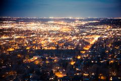 Boulder Colorado from above at night with lights. Beautiful Boulder Colorado seen at night from above with many lights across the city Stock Images