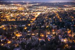 Boulder Colorado from above at night with lights. Beautiful Boulder Colorado seen at night from above with many lights across the city Royalty Free Stock Image