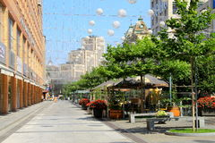 The beautiful boulevard in the city of Dnipro Dnepropetrovsk, decorated with balloons. royalty free stock images