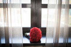 Beautiful bouqet on the window. Is waiting to be given as a gift Royalty Free Stock Photo