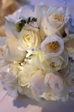 Beautiful Bouquet. A variety of white flowers make up this wedding bouquet with diamond and pearl accents Royalty Free Stock Photography