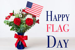 Beautiful bouquet with american flag on white background Royalty Free Stock Photos