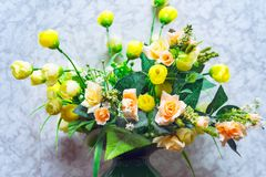 Bouquet of different artificial flowers Stock Images