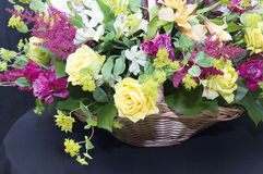 Beautiful bouquet. In a basket close up Royalty Free Stock Images
