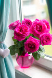 Beautiful bouquet of big pink roses Stock Photo