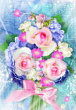 Beautiful bouquet with blooming hydrangea and rose flowers on grunge background. Stock Image