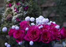 Beautiful bouquet of breath magenta charming roses with decorati Stock Photo