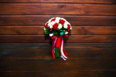 Beautiful bouquet bridal near the wall Royalty Free Stock Photo
