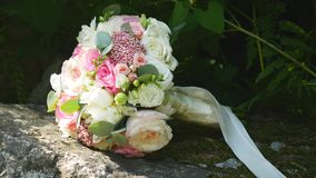 Beautiful bouquet of the bride stock video