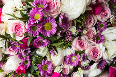 Beautiful bouquet of bright flowers close up.  Stock Image
