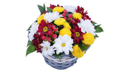 Beautiful bouquet of bright flowers isolated on white Stock Photography