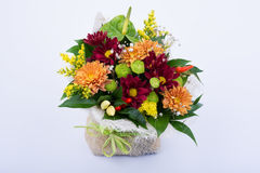 Beautiful bouquet of bright flowers on white background Stock Photo