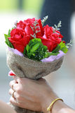 Beautiful bouquet of bright red flowers Stock Photo