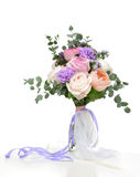 Beautiful bouquet of bright white pink purple roses flowers with Royalty Free Stock Image