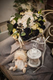 Beautiful bouquet of bright white rose and black decor Stock Photos