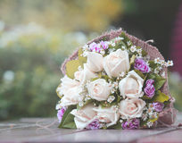 Beautiful bouquet of bright white rose flowers Stock Images