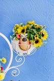 Beautiful bouquet of bright wildflowers in flowerpot Stock Photo