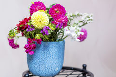 Beautiful bouquet of chrysanthemums  flowers in blue vase Royalty Free Stock Photos