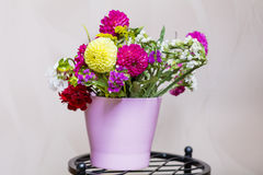 Beautiful bouquet of chrysanthemums  flowers in pink vase Stock Images