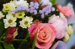 Beautiful bouquet of colorful  flowers. stock photos