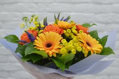 Beautiful bouquet of colorful  flowers. stock images