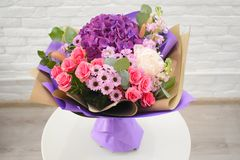 Beautiful lovely bouquet for flower shop stock photo