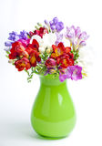 Beautiful bouquet of colorful freesia in green vase on a white b Royalty Free Stock Images