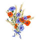 Beautiful bouquet of cornflowers, poppies and wheat spikelets, tied with silk ribbon Stock Photography
